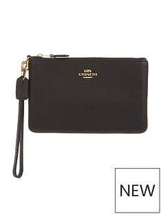 coach-small-pebbled-leathernbspwristlet-black