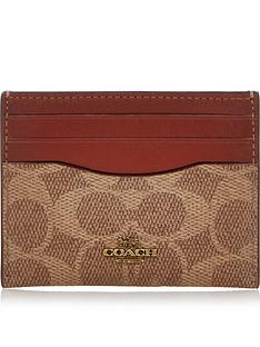 coach-coated-canvas-signature-card-holder-tan