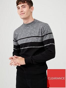 v-by-very-block-stripe-crew-neck-jumper-greyblack