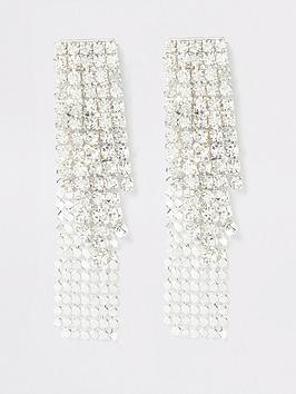 river-island-river-island-sparkle-drop-earrings-silver