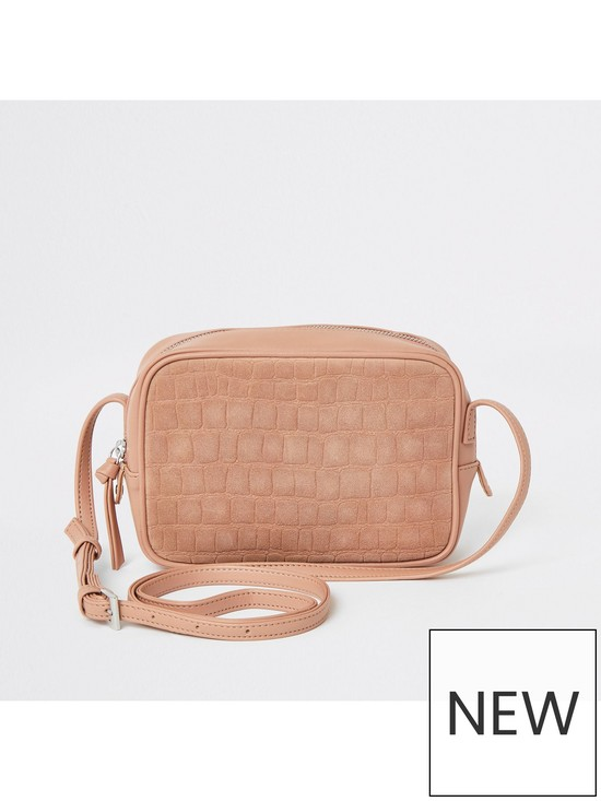 River Island Leather Mix Cross Body Bag - Light Pink