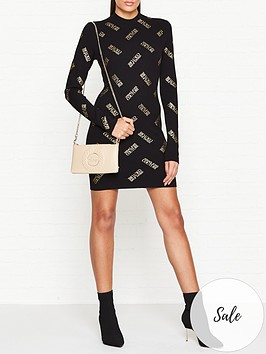 versace-jeans-couture-all-over-logo-knitted-dress-black