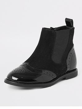 river-island-mini-mini-girls-brogue-flat-boot-black