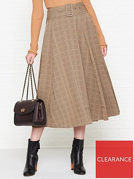 sofie-schnoor-belted-check-midi-skirt-brown