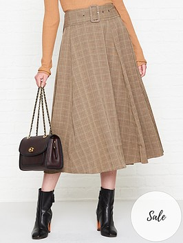 sofie-schnoor-belted-check-midi-skirt-brown