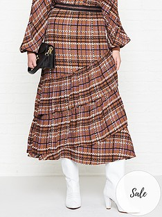 sofie-schnoor-checked-ruffle-midi-skirt-brown