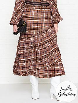 sofie-schnoor-checked-ruffle-midi-skirt-brown