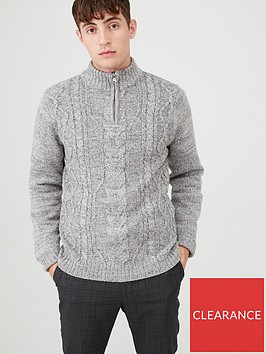 v-by-very-funnel-neck-cable-knit-jumper-grey