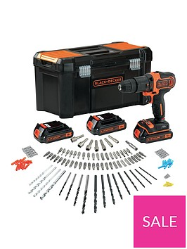 black-decker-18v-combi-hammer-drill-and-3-batteries