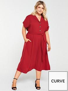 v-by-very-curve-button-through-midi-dress-rust