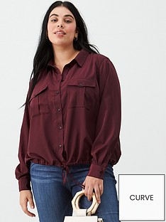 v-by-very-curve-tie-front-bubble-hem-blouse-oxblood