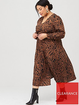 v-by-very-curve-split-front-animal-midi-dress-print