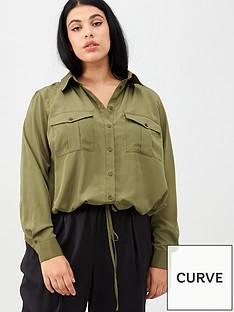 v-by-very-curve-tie-front-bubble-hem-blouse-khaki