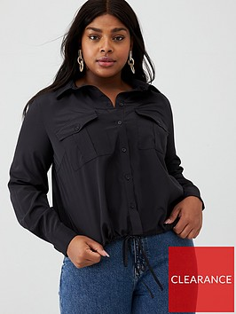v-by-very-curve-tie-front-bubble-hem-shirt-black