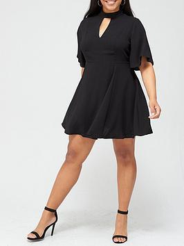 v-by-very-curve-keyhole-detail-flippy-dress-black