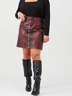 v-by-very-curve-snake-print-pu-skirt-red