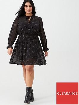 v-by-very-curve-star-lace-up-dress-black