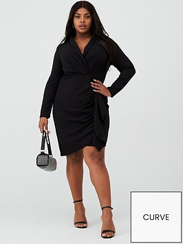 v-by-very-curve-ruffle-detail-wrap-dress-black