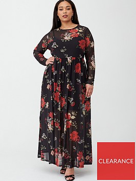 v-by-very-curve-floral-mesh-maxi-dress-print
