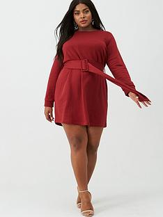 v-by-very-curve-sweat-dress-with-belt-red