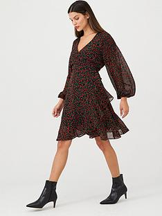 v-by-very-balloon-sleeve-wrap-dress-print
