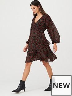 v-by-very-balloon-sleeve-wrap-dress-print