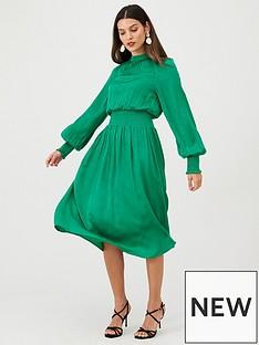 v-by-very-high-neck-satin-midi-dress-green