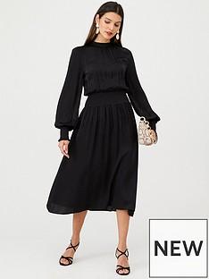 v-by-very-high-neck-satin-midi-dress-black