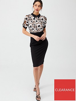 v-by-very-collar-lace-top-ponte-skirt-pencil-dress-monochrome
