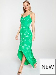 2133014b8f River Island River Island Embroidered Midi Slip Dress - Green