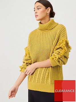 v-by-very-fringe-detail-fisherman-knit-jumper-mustard