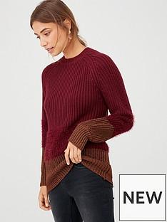 v-by-very-textured-block-hem-longline-jumper-plum