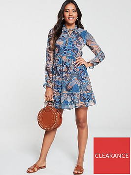 v-by-very-paisley-mesh-mini-dress-multi