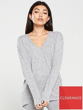 v-by-very-v-neck-snit-co-ord-top-grey
