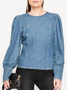 gestuz-serala-denim-blouse-blue