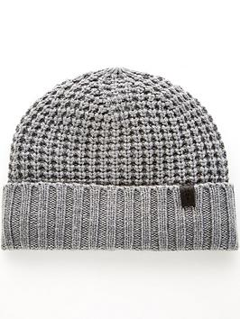 allsaints-thermal-stitch-beanie-hat-grey