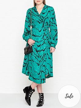 gestuz-aylin-zebra-print-wrap-dress-green