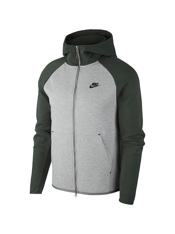 Polinizador luto botón  Nike Sportswear Tech Fleece Full Zip Hoodie - Green/Grey | very.co.uk