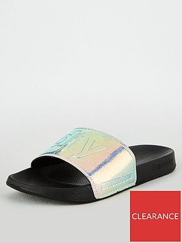 superdry-holographic-glitter-pool-slide-black