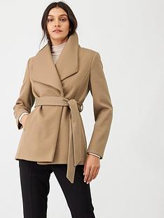 oasis-tie-waist-short-wrap-coat-neutral