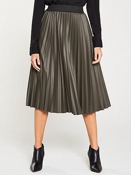 oasis-faux-leather-pleated-midi-skirt