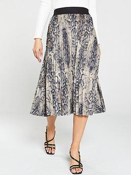 oasis-snake-faux-leather-pleated-midi-skirt-multi