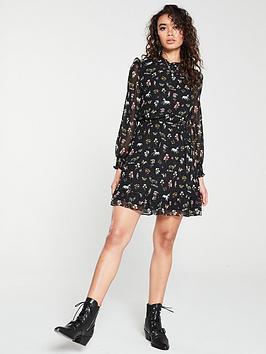 oasis-reggie-conversational-print-chiffon-dress-multi-black