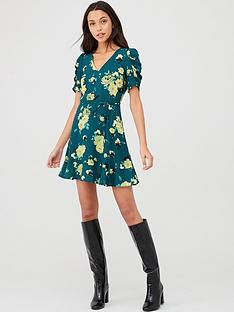 oasis-historical-sleeve-rose-skater-dress-green