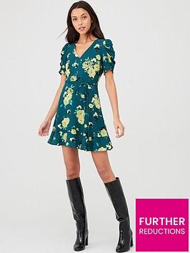 oasis-historical-sleeve-rose-skater-dress-green