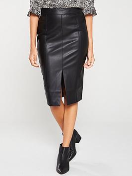 oasis-faux-leather-split-front-pencil-skirt-black