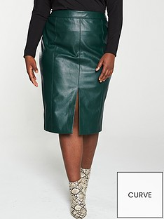 oasis-curve-faux-leather-split-front-pencil-skirt-deep-green