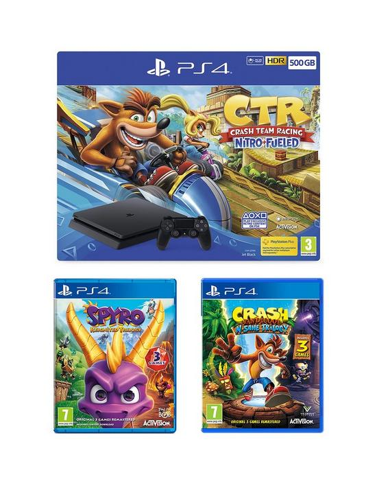 Crash Team Racing Nitro Fueled 500GB PS4 Bundle with Crash Bandicoot N'Sane  Trilogy, Spyro Trilogy Reignited and Optional Extras