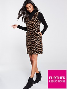 warehouse-tiger-pinny-dress-brown