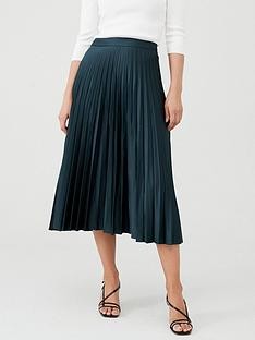 warehouse-satin-pleated-midi-skirt-dark-green
